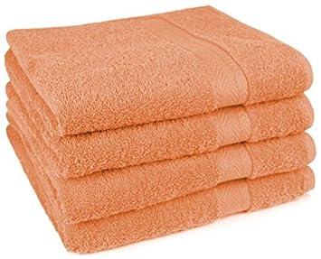 Lot de 4 4 serviettes de toilette premium couleur orange qualit qualit 470g m 4 for Serviette de toilette haute qualite