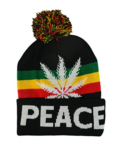 Mens-Winter-Marijuana-Leaf-Pome-Thick-Long-Beanie-Skull-Hat-One-size-4Colors-BlackPeace
