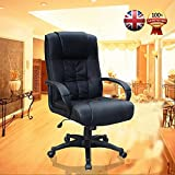 (BTM)EXECUTIVE OFFICE CHAIR PADDED LEATHER HIGH BACK OFFICE CHAIR GAMING CHAIR STUDY CHAIR BUCKET CHAIR ERGONOMIC CHAIR(BLACK)