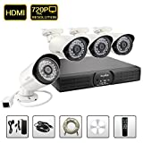 SANNCE® N9004W 720P 4CH NVR With 4PCS POE Weatherproof HD IP Cameras Security Wireless System, QR Code Scan Remote Access via Smartphone