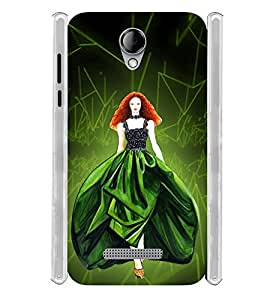 Green Gown Girl Soft Silicon Rubberized Back Case Cover for Karbonn Titanium Mach Five :: Karbonn Machfive