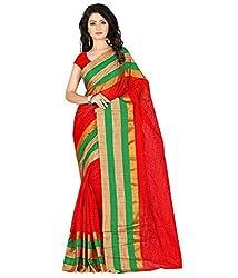 Sanju Swanky Red Color Cotton Saree