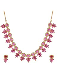 Shree Narayan Jewellers White And Ruby Metal Strand Necklace Set For Women (SNJ 274AR)