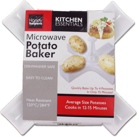 """9"""" Microwave Potato Baker [12 Pieces] *** Product Description: Microwave Potato Baker Measures 9"""" Total And Has 4 Arms With Potato Rests For Cooking. Material: Plastic. Color: White. ***"""