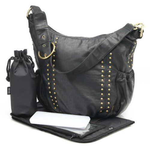 OiOi Changing Bag - The Hobo - Faux Leather Studded Black by OiOi
