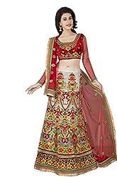 Navyata Women's Net Semi-Stitched Lehenga Choli (1722 B_Multi_Free Size)