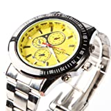 Yesurprise Fashion Men Oversized Military Army Stainless steel Band Quartz Wrist Watch Yellow