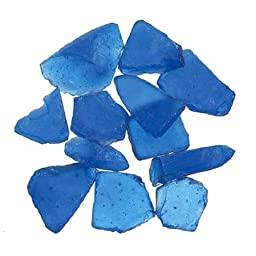 Frosted Blue Sea Glass - For Creating Pathways for Fairy Gardens, Gnome Villages or Using for Vase Fillers or Table Scatters - Approximately 3 Lb.