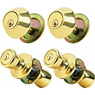 Steel Pro Entry Lockset And Single Cylinder Quad Pack-PB CP TULIP CMBO QUAD PK