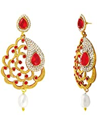 Traditional Ethnic Red Floral Paisley Gold Plated Dangler Earrings With Crystals For Women By Donna ER30111G