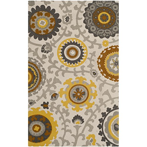 Safavieh Cedar Brook Collection CDR144C Handmade Citron and Ivory Cotton Area Runner, 2 feet 3 inches by 3 feet 9 inches (2'3