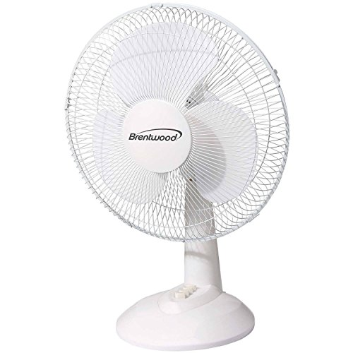 12 inch Oscillating Adjustable Quiet Cool 3 Speed Round Floor, Table and Desk Fan, White (Air Conditioner In India compare prices)