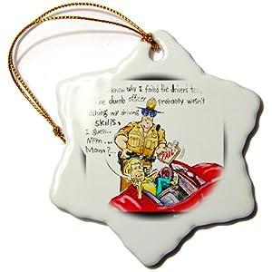 orn_7551_1 Londons Times Gen. 2 Miscellaneous Cartoons - Bad Driver - Ornaments - 3 inch Snowflake Porcelain Ornament