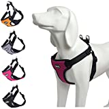 BINGPET No Pull Dog Harness Reflective for Pet Puppy Freedom Walking Large Hot Pink