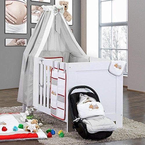 Baby-Bettset-5-tlg-Sleeping-Bear-Babybettset-Baumwolle-Beige-Blau-Grn-Gelb-Weiss-Grau-Rosa-Farbegrau