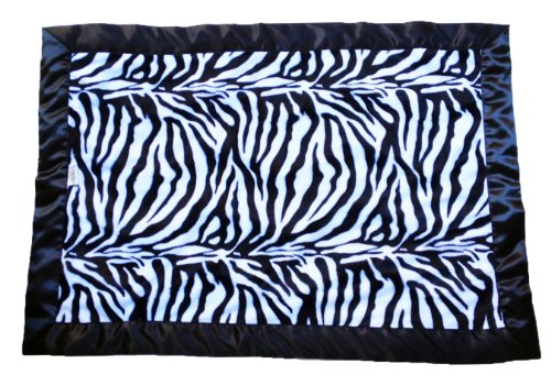 Patricia Ann Designs Stroller Blanket with Black Binding, Zebra with Turquoise Swirl