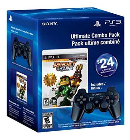 PS3 DualShock 3 Black and Ratchet and Clank Collection