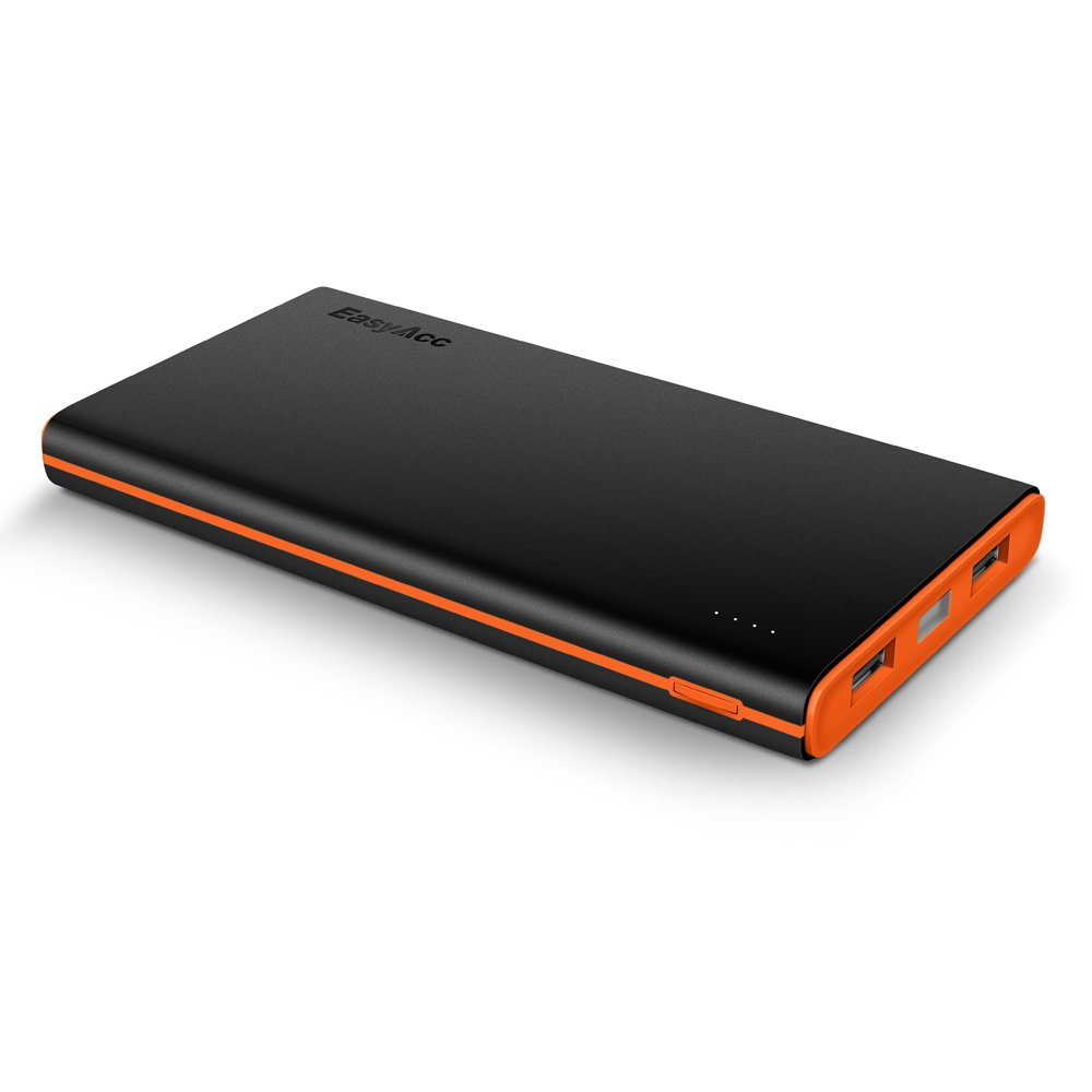 (Upgraded Version) EasyAcc 2nd Gen 10000mAh Power Bank Portable External Battery Pack (2.4A Smart Output) Travel Charger for iPhone Samsung S6 Edge HTC Smartphones Tablets -Black and Orange