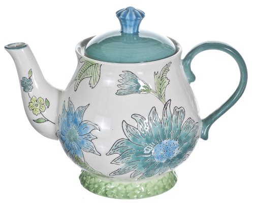 Gracie China Dutch Wax Hand Paint Ceramic 5-Cup Tea Pot Turquoise Daisy