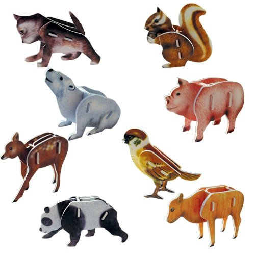 Jigsaw 3D Puzzle - Cat/ Squirrel/Bear/Pig/Deer/Sparrow/Panda/Calf