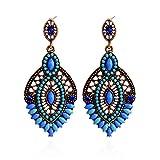 Lureme Perles Bijoux de Mode évider la Conception Ton Or avec Cristal Pendentif en Forme de Goutte d'eau Pendants d'oreilles pour les Femmes et les Filles (02003362-1) (Bleue)