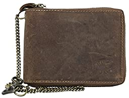 Strong Genuine Leather Wallet with Metal Zip Around (zipper around) with Scorpion with Chain