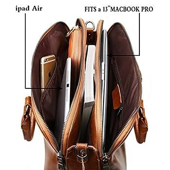 "Yahoho Women's Double Zipper Genuine Leather Tote Office Lady Top Handle Cross Body Shoulder Bag fit 13"" Laptop 2"