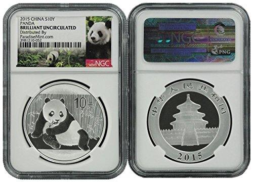 2015 China Modern Commemorative (CN) 10 Yuan Silver Panda New Panda Label 1 OZ Brilliant Uncirculated NGC