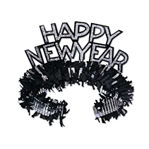 Beistle 88761BK50 Black and Silver Happy New Year Regal Tiara, 50 Tiaras Per Package
