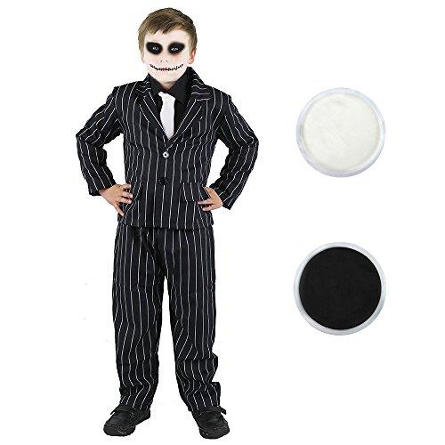 ILOVEFANCYDRESS - Travestimento per Halloween da bambino, con abito gessato e cerone nero e bianco per il volto, colore: nero