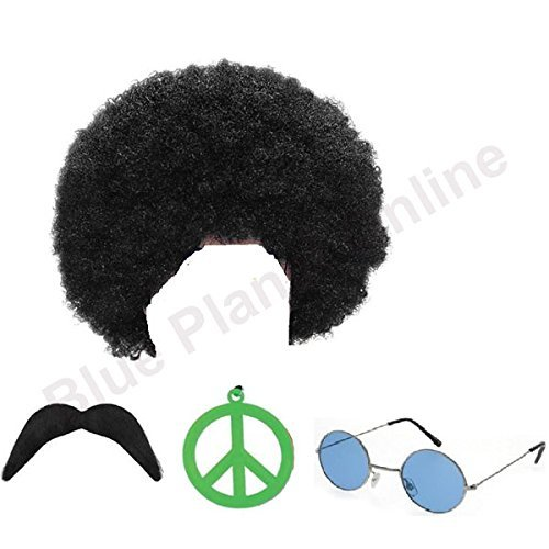 1970s Afro Hippie Man Costume Set. Includes afro wig, sunglasses, moustache and peace medallion.