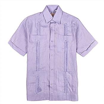 Mens cuban guayabera shirt short sleeve, lavender.