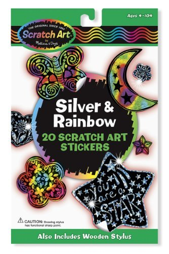 Silver & Rainbow: Scratch Art Stickers Pack