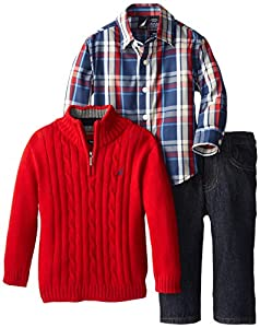 Nautica Baby-Boys Infant 3 Piece Woven Sweater Denim Set, Samba, 18 Months