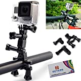 DEYARD Motorcycle Bike Handlebar Seatpost Pole Mount + Three-way Adjustable Pivot Arm + 1x Thumbscrews For GoPro...