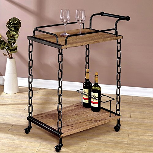 Furniture of America Porteno Industrial Chain Link Serving Cart 0