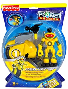 """Fisher Price Year 2007 Planet Heroes Basic Series 5 Inch Tall Action Figure - MERCURY """"ZIP"""" with Removable Laser Beam Shooter, Space Vehicle and Trading Card"""