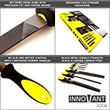 INNOVANT 9 Piece Premium Grade High Carbon Hardened Steel File Set W/ Comfortable Rubber Hand Grip Handles - Round Rasp Half Round Flat & Needle Files Best For Shaping Wood / Metal & Sharpening Tools