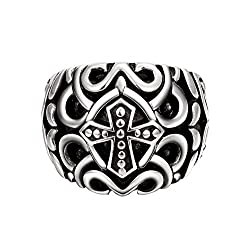 Aaishwarya Punk Cross Engraved Ring For Mens & Boys
