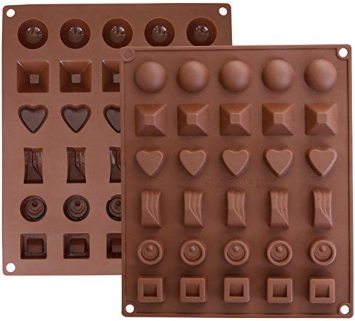 Ozera-2-Pack-Silicone-Chocolate-Jelly-Candy-Mold-Cake-Baking-Mold-30-Cavity-Brown