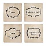 Vintage Wine Ceramic Dry Stone Coasters Set