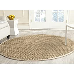 Safavieh Natural Fiber Collection NF114A Natural and Beige Seagrass Round Area Rug, 6 feet in Diameter (6\' Diameter)