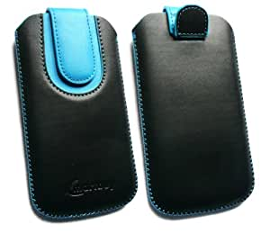 Emartbuy® Black / Blue Plain Premium PU Leather Slide in Pouch Case Cover Sleeve Holder ( Size 3XL ) With Pull Tab Mechanism Suitable For Elephone G1 4.5 Inch Smartphone
