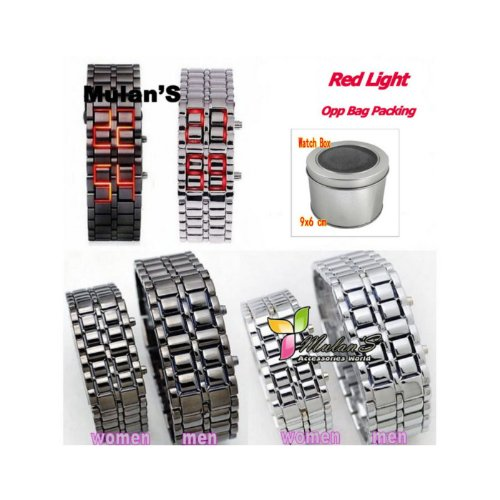 Mulan'S Red Light Led /Couple Watch For Men /Bracelet Color : Tarnish (Black) / Iron Samurai Watch (With Free Box) 1 Piece
