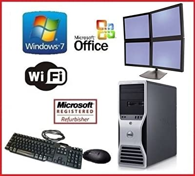 DELL PRECISION WINDOWS 7 EIGHT CORE XEON QUAD 3.16GHz(x2) 32GB RAM 2TB QUAD MONITOR DISPLAY + OFFICE!