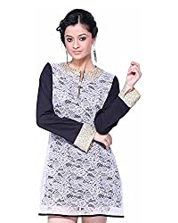 VeaKupia Women's Asymmetric Regular Fit Dress (Black & White, 38)