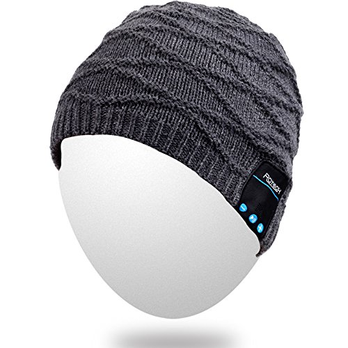 Qshell Wireless Bluetooth Beanie Hat Headphone Headset Music Audio Cap for Women Men with Speaker & Mic Hands Free Outdoor Sports,Compatible with Iphone 6s/6 plus,Samsung,Best Christmas Gifts -Black