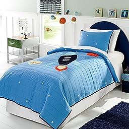 Casofu® Space Rocket Patchwork Quilt Set, Twin Quilt, Boys Sheets & Sham Set (2 Piece Bedding)