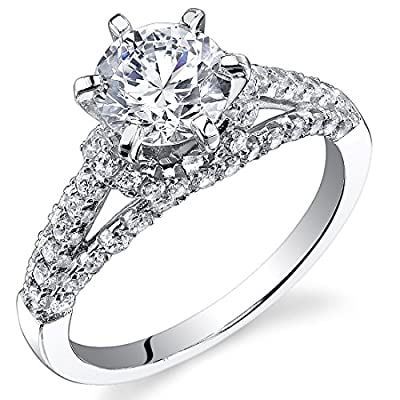 Revoni Sterling Silver Classic Round Cut Simulated Diamond Engagement Ring,