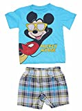 Disney Mickey Mouse in Sun Glasses Boys T Shirt and Plaid Short Outfit - Blue